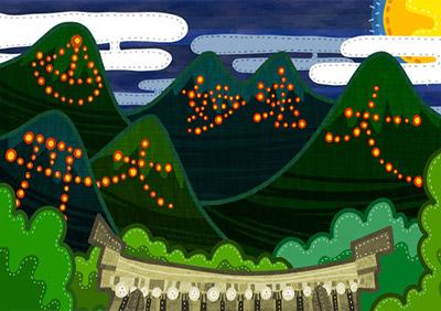 大文字(東山如意ヶ嶽)が一番早く20時からになります。